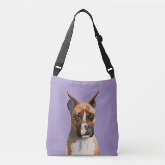 Bolso Cruzado Pintura de la acuarela del perro del boxeador