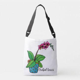 Bolso Cruzado Planta de la orquídea de la acuarela en pote