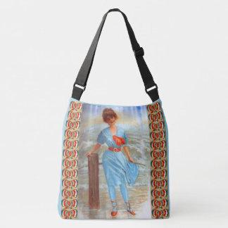 Bolso Cruzado señora del Victorian de los 1890s en la playa