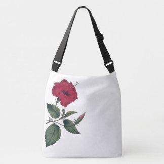 Bolso Cruzado Sola flor botánica roja del hibisco