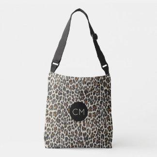 Bolso Cruzado Tote del monograma de la chispa del leopardo