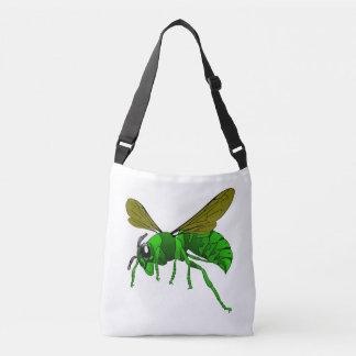 Bolso Cruzado Verde del dibujo animado y abeja de la avispa del