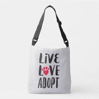 Bolso Cruzado Vivo. Amor. Adopte la adopción del mascota