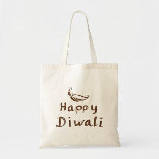 Bolso de compras con el texto Diwali feliz Bolsa Tela Barata