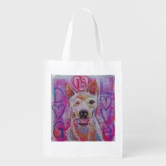 Bolso de compras reutilizable con diseño del perro