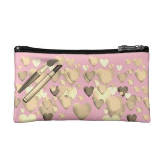 Bolso De Maquillaje Pequeño Bolso-Oro cosmético en el rosa diseñado