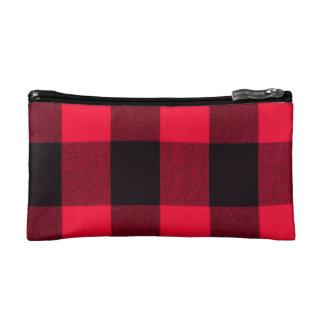 Bolso De Maquillaje Tela escocesa acogedora roja y negra de moda del