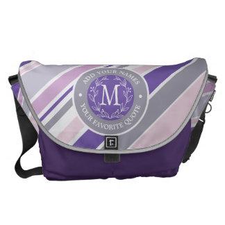 Bolso De Mensajero Hoja púrpura del laurel de las rayas de moda de la