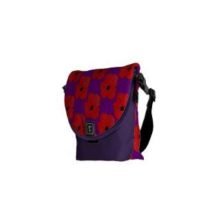 Bolso De Mensajero Púrpura y flower power realmente rojo de la
