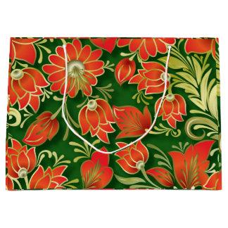 Bolso de papel floral rojo y verde elegante del bolsa de regalo grande