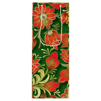 Bolso de papel floral rojo y verde elegante del bolsa para vino