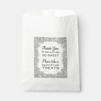Bolso de plata del favor del boda de la comida bolsa de papel