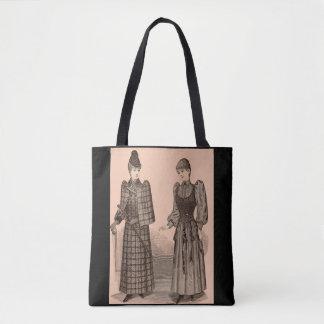 Bolso De Tela 1895 señoras capa y vestido de la impresión del