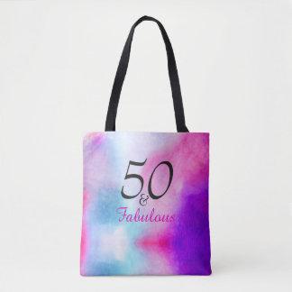 Bolso De Tela 50 y 50.o rosa y púrpura fabulosos del cumpleaños