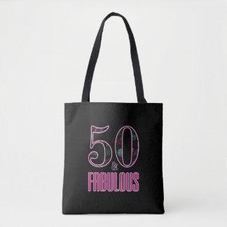 Bolso De Tela 50 y cumpleaños de la tipografía rosada negra