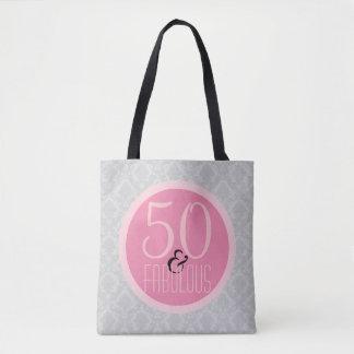 Bolso De Tela 50 y damasco gris rosado elegante fabuloso