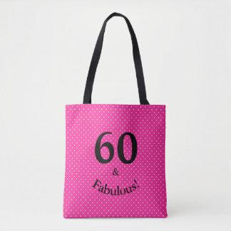 Bolso De Tela 60 y lunares rosados brillantes del cumpleaños