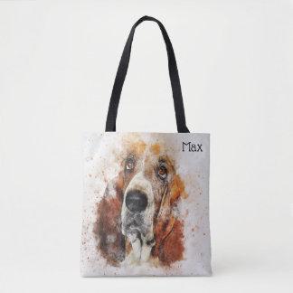 Bolso De Tela Acuarela de moda Basset Hound personalizado