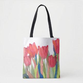 Bolso De Tela Acuarela del tulipán de la primavera roja