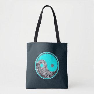 Bolso De Tela adorno de Yin-Yang de la aguamarina en el agua de