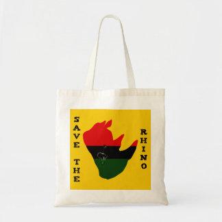 Bolso De Tela Ahorre el rinoceronte con amarillo del rasgón de