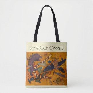 Bolso De Tela ahorre nuestros océanos, vaya verde, pescado, arte