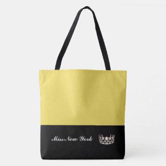 Bolso De Tela Amarillo Bolso-Grande del tote de la corona de la