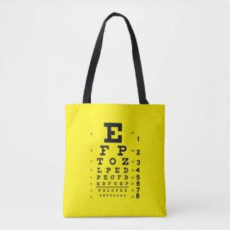 Bolso De Tela Amarillo retro de la carta de ojo del estilo del