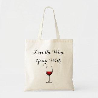 Bolso De Tela Ame el vino que usted está con
