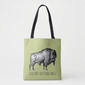 Bolso De Tela Ame su búfalo la ninguna de los parques nacionales