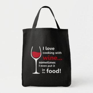 Bolso De Tela Amo el cocinar con el vino