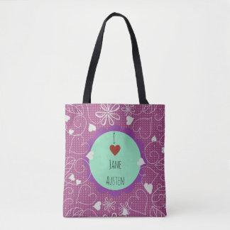 Bolso De Tela Amo el modelo rosado oscuro de Jane Austen