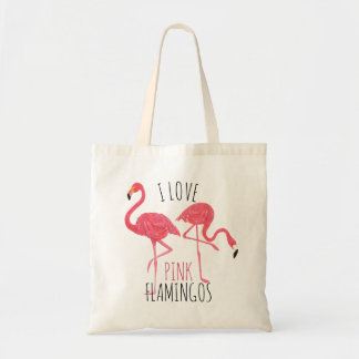 Bolso De Tela Amo los flamencos rosados texto y el ejemplo de