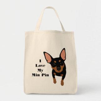 Bolso De Tela Amo mi tote del perro del Pin del minuto (el PIN