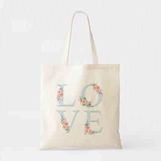 Bolso De Tela Amor en tipografía floral del alfabeto de la