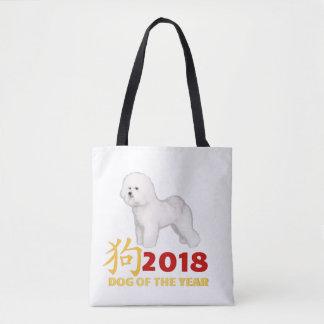 Bolso De Tela Año Nuevo chino. ¡Ganador Bichon Frise de AKC!