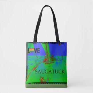 Bolso De Tela Arco iris colorido de la navegación de Saugatuck