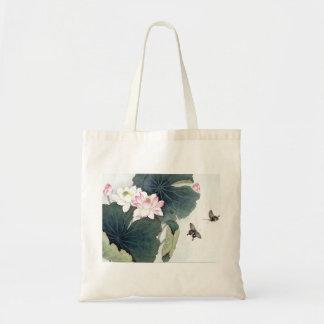 Bolso De Tela Arte asiático de la mariposa de la flor del rosa