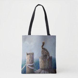 Bolso De Tela Arte de acrílico del océano del pelícano de Brown