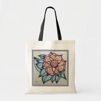 Bolso De Tela Arte del tote w/Flower