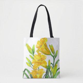 Bolso De Tela Arte floral amarillo de los lirios de día de la