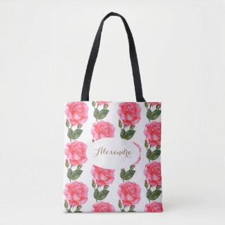 Bolso De Tela Arte floral de los rosas rosados de encargo