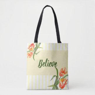 Bolso De Tela Arte floral de los tulipanes amarillos de encargo