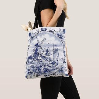 Bolso De Tela Azul holandés de Delft del velero del molino de