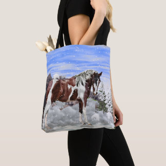 Bolso De Tela Bahía y caballo blanco de la pintura de Tobiano en
