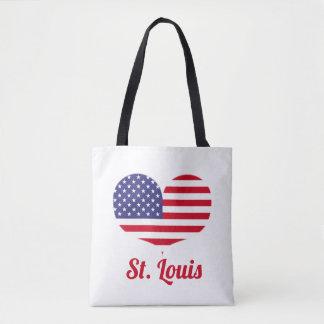 Bolso De Tela Bandera americana en forma de corazón de St. Louis