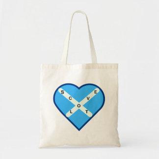 Bolso De Tela Bandera cruzada de Saltire del azul y del blanco