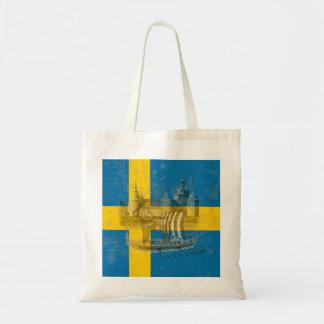 Bolso De Tela Bandera y símbolos de Suecia ID159