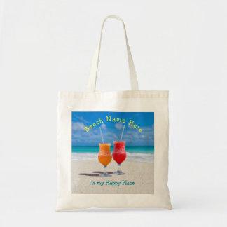 Bolso De Tela Bebidas en el tote feliz personalizado playa del