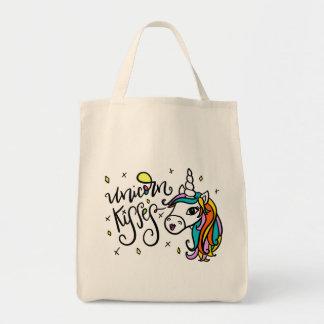 Bolso De Tela Besos del unicornio, mano-indicados con letras